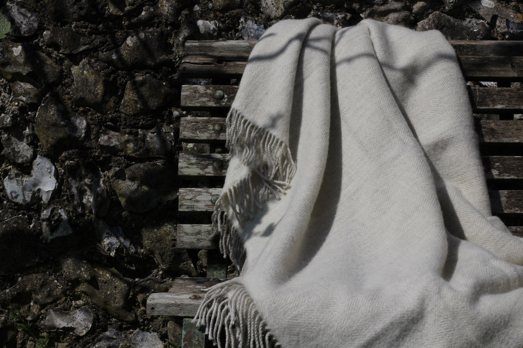 Cream British Lambswool Herringbone Blanket