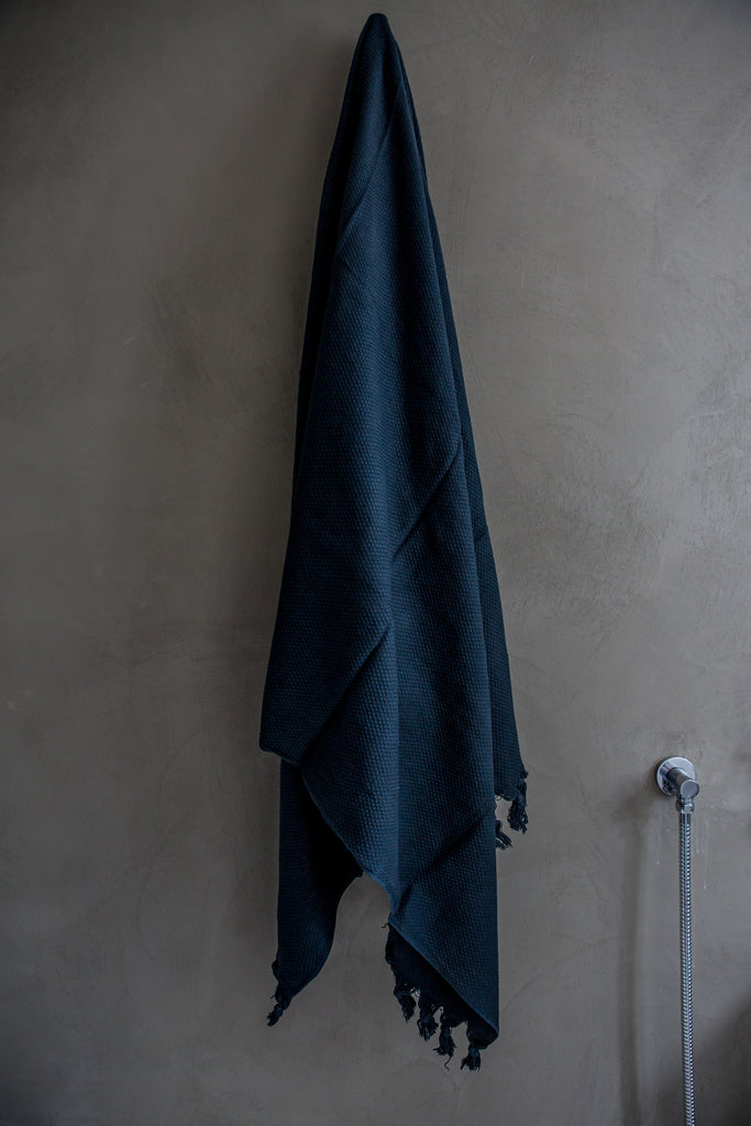 Ink Blue Handloom Cotton Towels