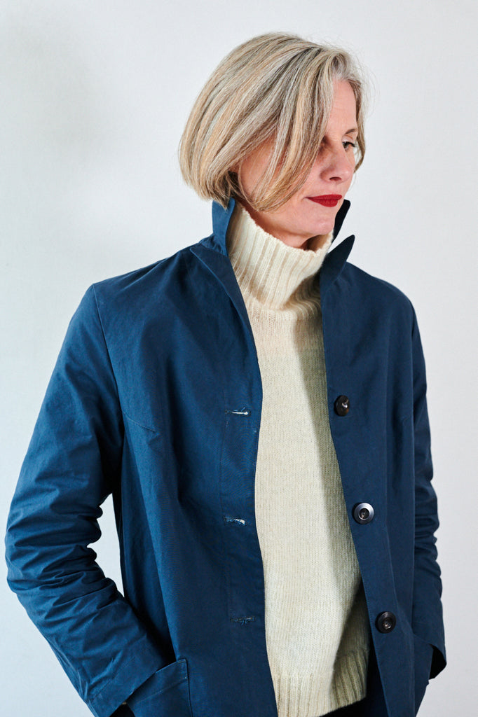 Indigo colour dry waxed duster coat