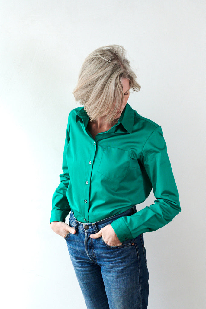 Womens Cotton Shirt in Jade