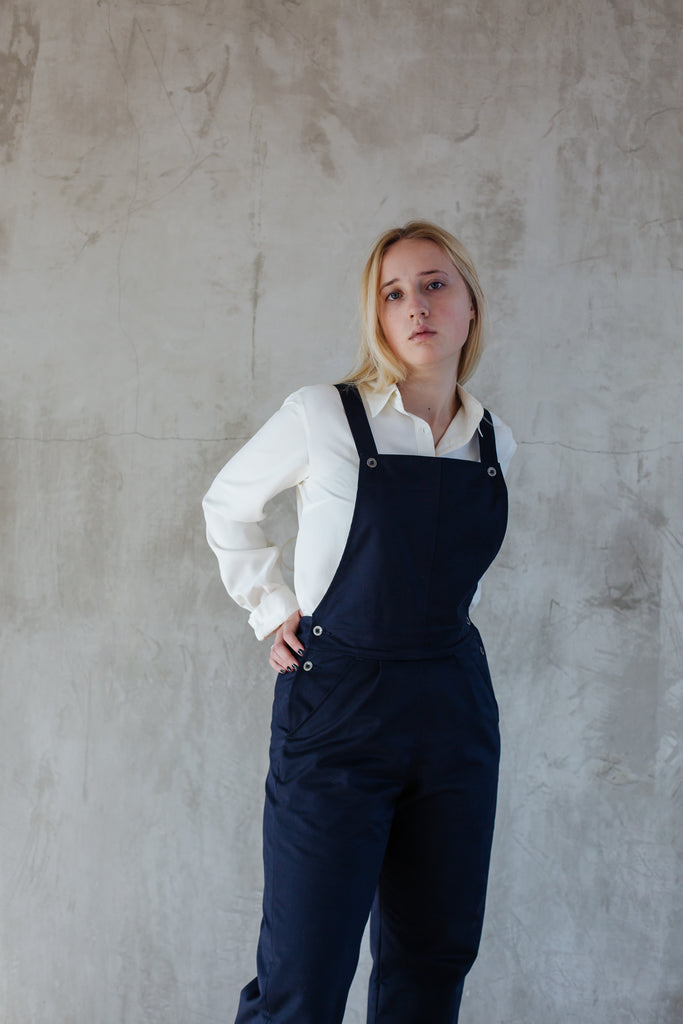 Cotton Drill Dungarees - Navy
