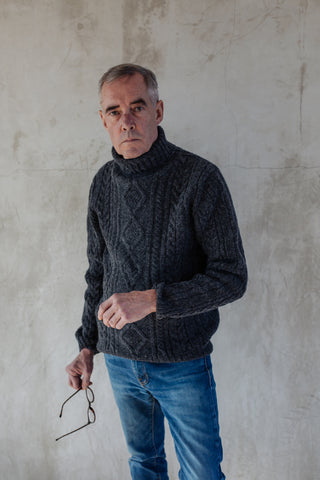 Mens Lambswool Cable Knit Jumper