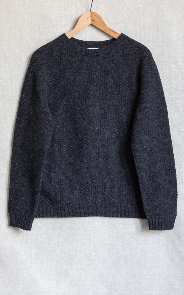 Mens Lambswool Moss Stitch Crew Neck Jumper