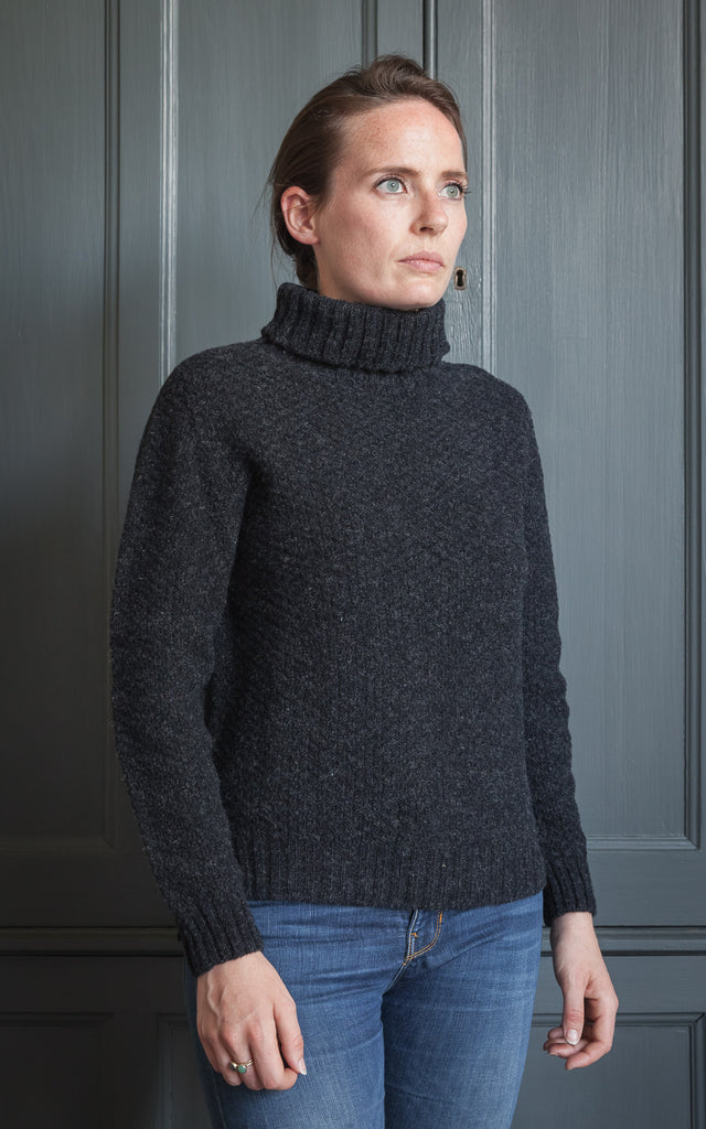 Womens Moss Stitch Lambswool Jumper