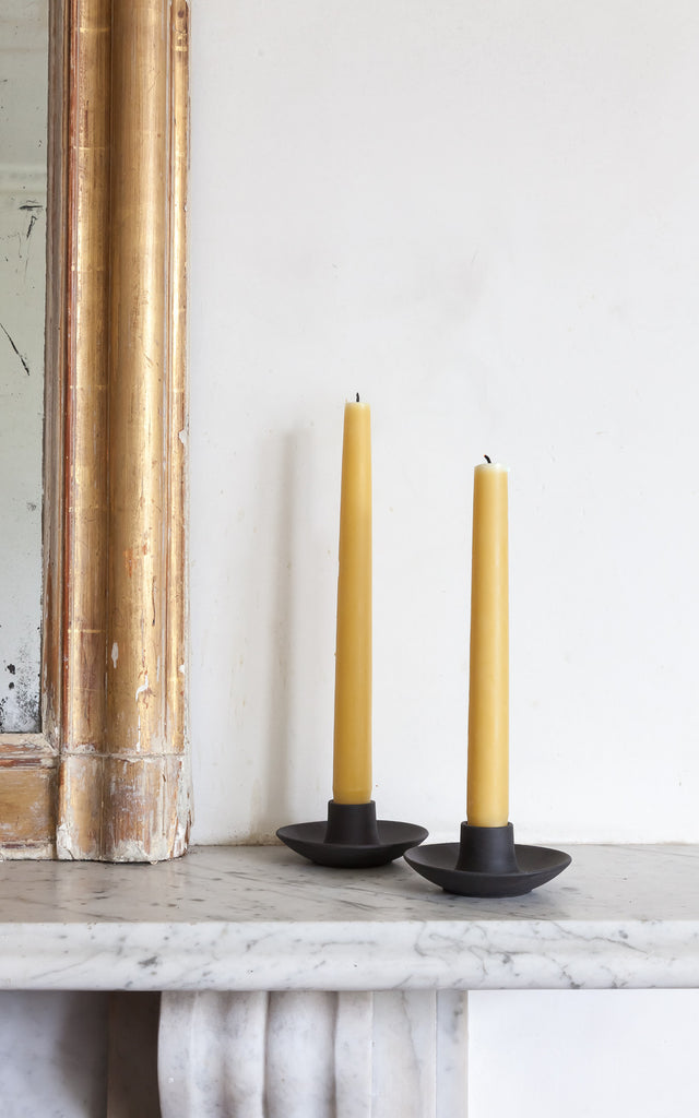 Black Basalt Candle Holders