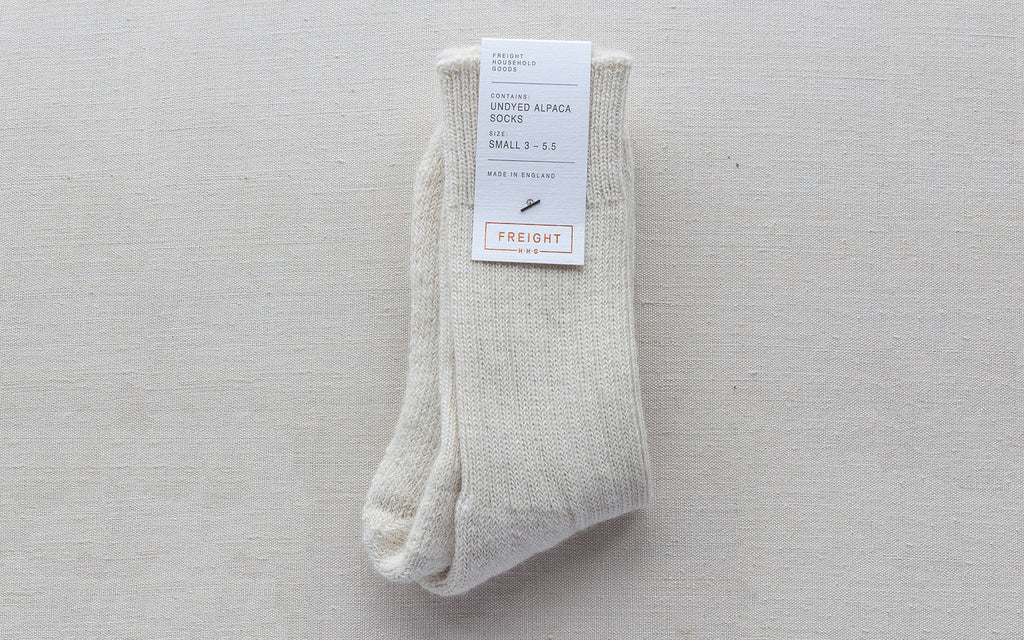 Alpaca Cushion Soled Socks - Cream