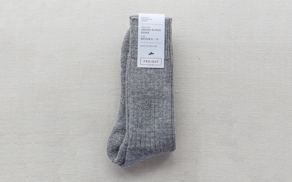 Alpaca Cushion Soled Socks - Pale Grey