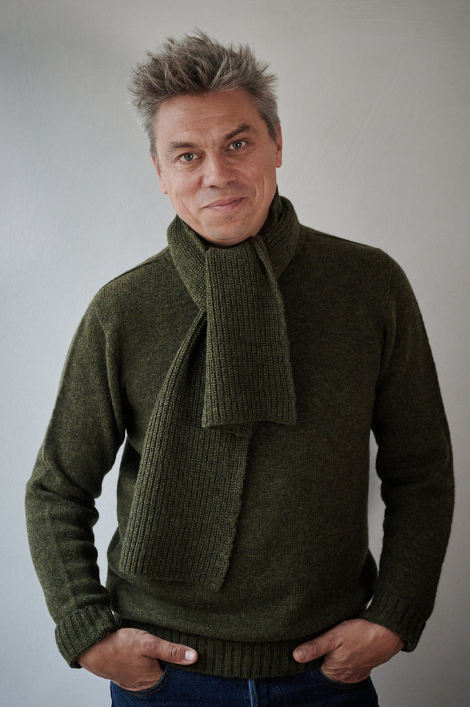 Fishermen knit scarf in cashmere and lambswool