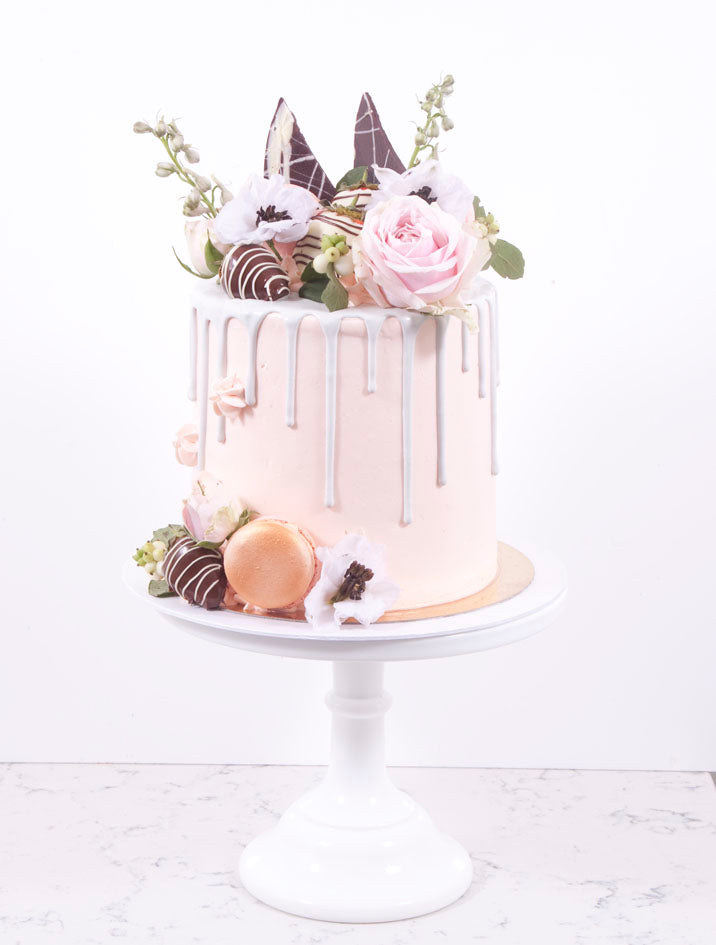 Blush Pink and Grey Mad Hatter Cake