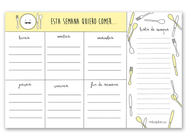 Organizador Menu Semanal Lovely