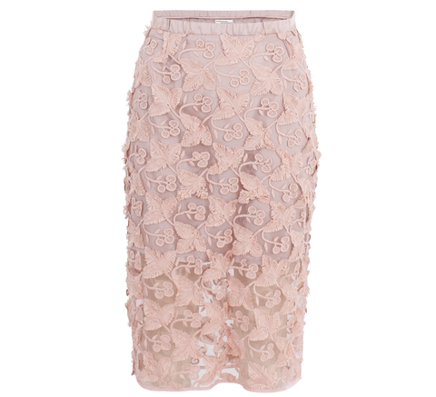 The longer length pencil skirt in 3D pale rose lace is lined to the knee... click for more information