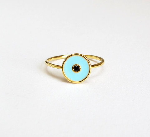 Part of their evil eye series, Eyland's new ring Ward features a light b... click for more information