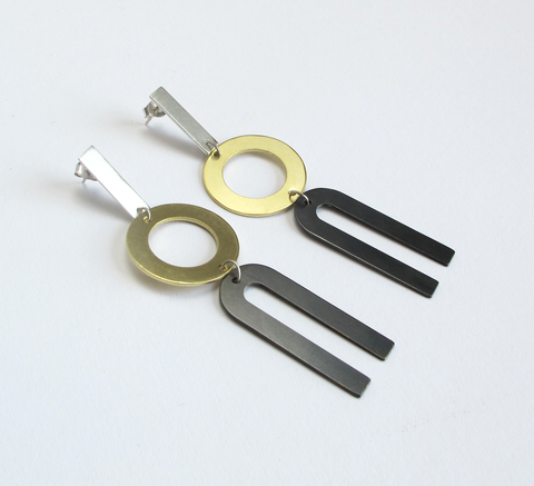 Natalie Joy's Divided Line Earrings combine geometric shapes in silver, ... click for more information