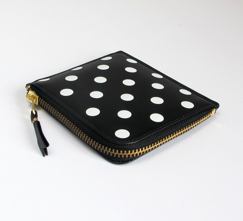 New in store the Zip Wallet in classic black leather with white polka do... click for more information