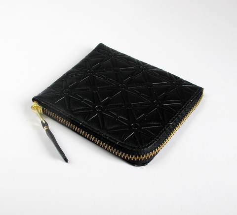 Available in a new pattern! The Zip Wallet in embossed black leather op... click for more information