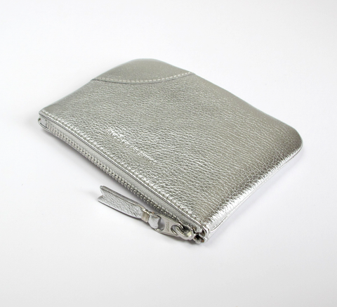 The Zip wallet in silver leather is a simple pouch with a complimentary... click for more information