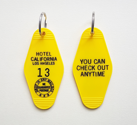 A new key ring for the Hotel California. Made in the USA Size: 3.5