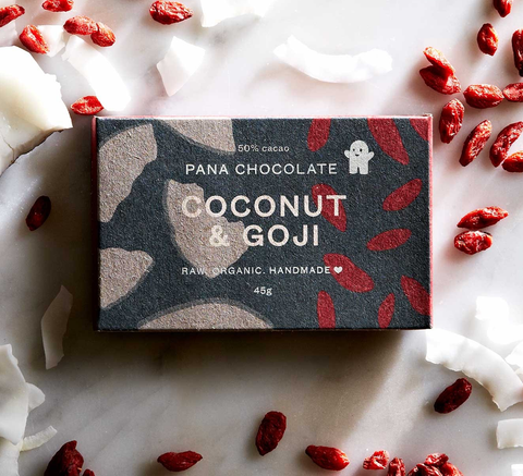 50% raw cacao with goji berries and coconut flakes. A bar with multiple... click for more information