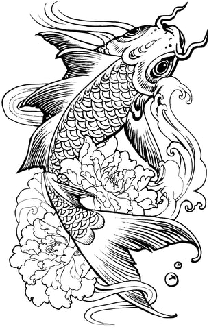 Japanese Koi Fish Tattoo Colouring Page