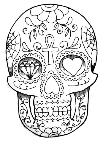 SKull colouring page