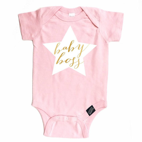 Baby Boss Onesie - Salmon Pink-onesie-baby-Little Misfits-tattoo-sleeves-trendy-baby-clothes-for-boys-girls-toddler