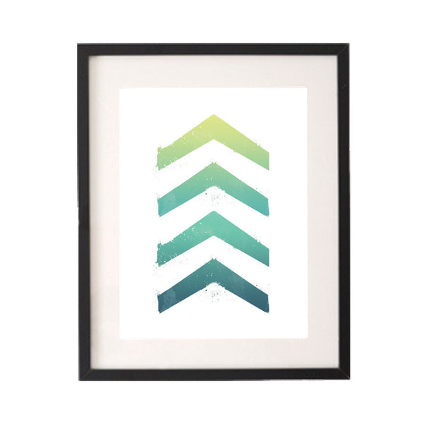 Ombre Green Blue Chevron Printable or Downloadable Wall Art Print-onesie-baby-Little Misfits-tattoo-sleeves-trendy-baby-clothes-for-boys-girls-toddler