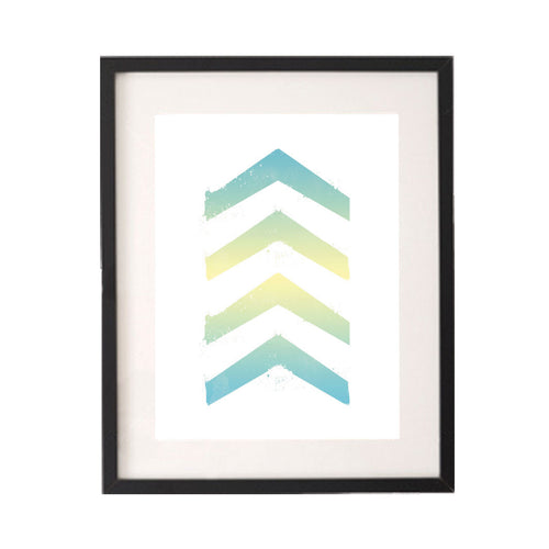 Ombre Watercolour Yellow Blue Chevrons Printable or Downloadable Wall Art Print-onesie-baby-Little Misfits-tattoo-sleeves-trendy-baby-clothes-for-boys-girls-toddler