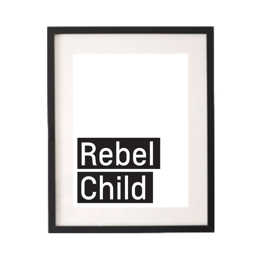 Rebel Child Monochrome Printable or Downloadable Wall Art Print-onesie-baby-Little Misfits-tattoo-sleeves-trendy-baby-clothes-for-boys-girls-toddler