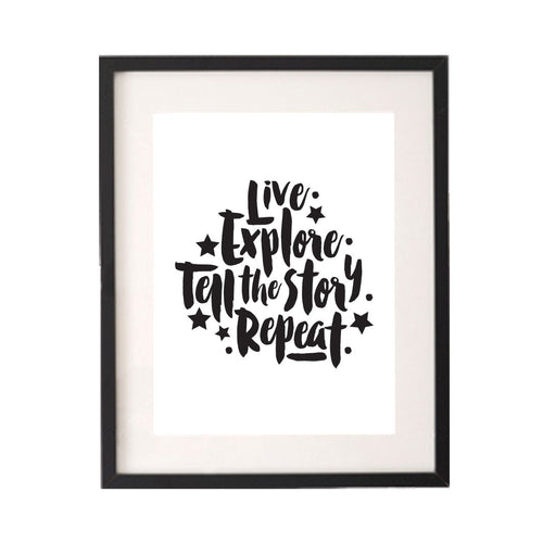 Live Explore Tell the Story Repeat Printable or Downloadable Wall Art Print-onesie-baby-Little Misfits-tattoo-sleeves-trendy-baby-clothes-for-boys-girls-toddler