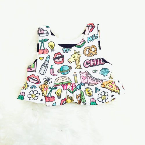 Girls Ruffled Crop Top - 90's-Inspired-onesie-baby-Little Misfits-tattoo-sleeves-trendy-baby-clothes-for-boys-girls-toddler