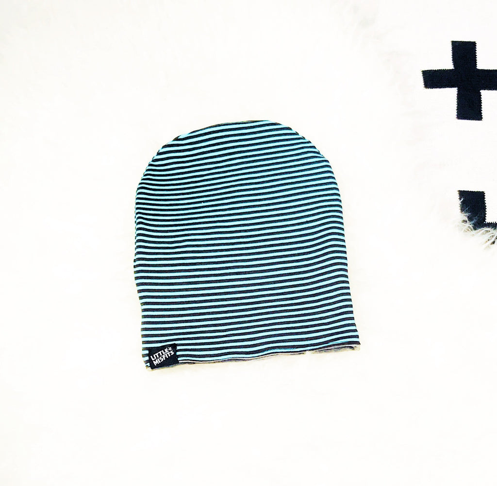 Reversible Teal and Black Stripe / Grey Baby or Kid's Slouch Beanie-onesie-baby-Little Misfits-tattoo-sleeves-trendy-baby-clothes-for-boys-girls-toddler