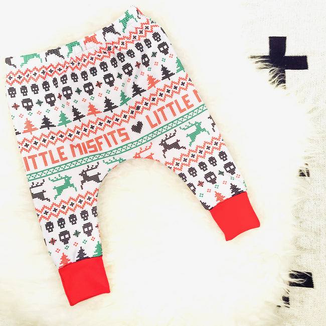 Exclusive Design! Baby Christmas Harem Drop Crotch Pants / Baby Leggings-onesie-baby-Little Misfits-tattoo-sleeves-trendy-baby-clothes-for-boys-girls-toddler