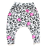 Leopard Skull Kiss Harem / Drop Crotch Pants-onesie-baby-Little Misfits-tattoo-sleeves-trendy-baby-clothes-for-boys-girls-toddler