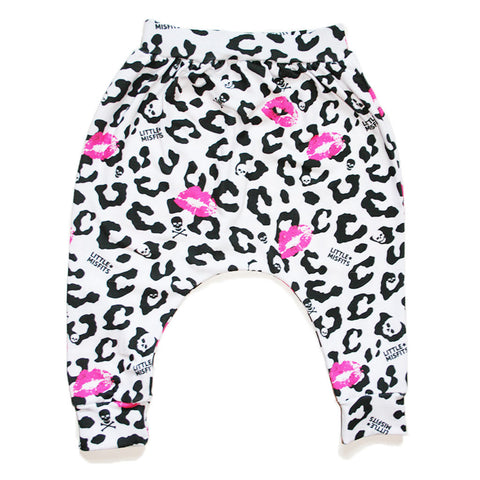 Grey Stripe Peek-a-Boo Skull Baby Harem Style Drop Crotch Pants / Baby Leggings