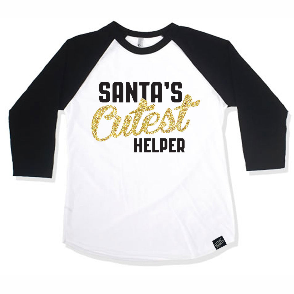 Santa's Cutest Helper Unisex Baby Raglan - Baby Baseball Shirt-onesie-baby-Little Misfits-tattoo-sleeves-trendy-baby-clothes-for-boys-girls-toddler
