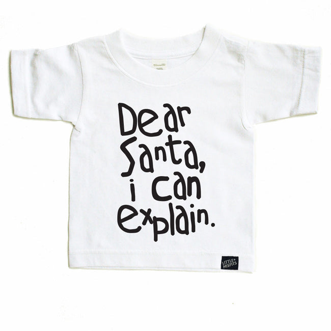 Dear Santa - Monochrome Toddler Tee - Black or White Toddler T-shirt-onesie-baby-Little Misfits-tattoo-sleeves-trendy-baby-clothes-for-boys-girls-toddler