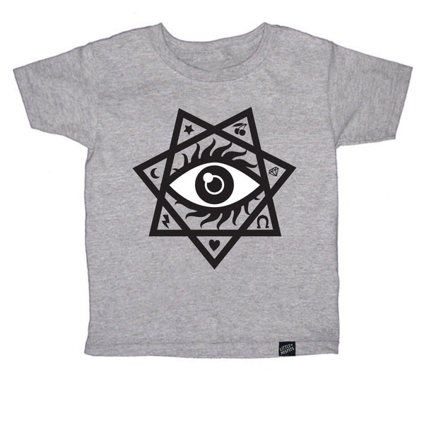 The All-Knowing Eye (Your Lucky Charm) Toddler Tee - Grey-onesie-baby-Little Misfits-tattoo-sleeves-trendy-baby-clothes-for-boys-girls-toddler