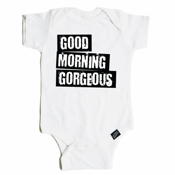 Hello Gorgeous - Monochrome Baby Onesie - Unisex Baby Clothes-onesie-baby-Little Misfits-tattoo-sleeves-trendy-baby-clothes-for-boys-girls-toddler