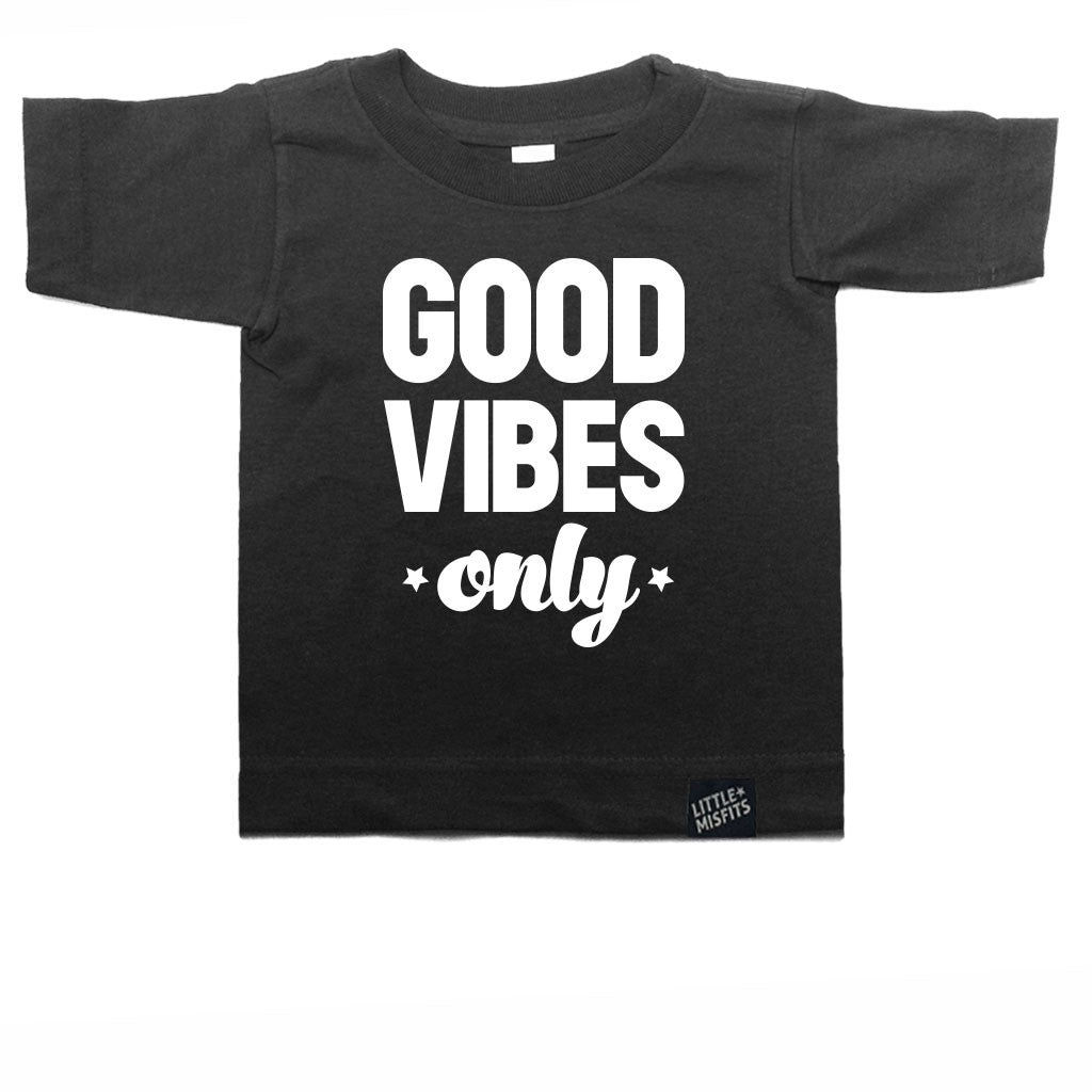 Good Vibes Only Toddler Tee-onesie-baby-Little Misfits-tattoo-sleeves-trendy-baby-clothes-for-boys-girls-toddler