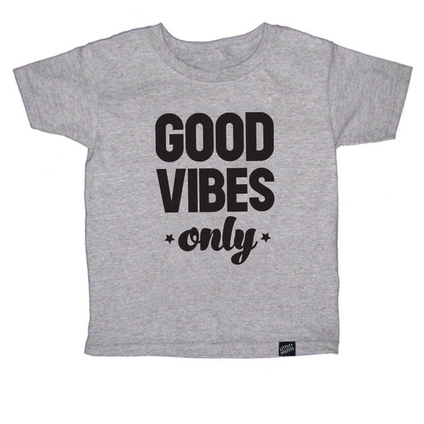 Good Vibes Only Toddler Tee - Grey-onesie-baby-Little Misfits-tattoo-sleeves-trendy-baby-clothes-for-boys-girls-toddler