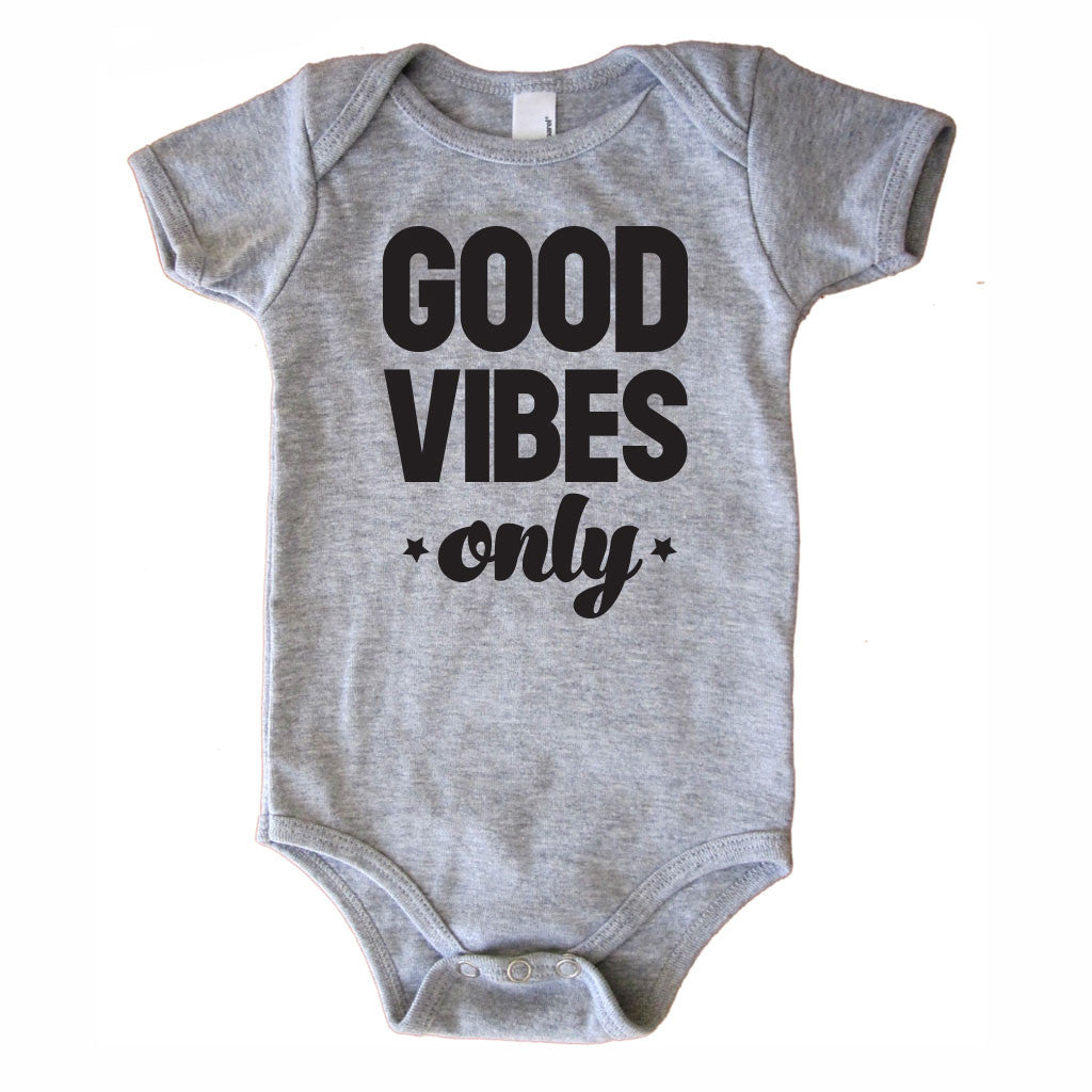 Good Vibes Only Onesie - Grey-onesie-baby-Little Misfits-tattoo-sleeves-trendy-baby-clothes-for-boys-girls-toddler