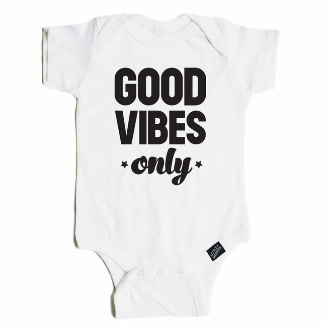 Good Vibes Only Onesie-onesie-baby-Little Misfits-tattoo-sleeves-trendy-baby-clothes-for-boys-girls-toddler