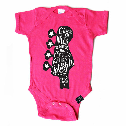 Guitar Love Onesie - Hot Pink-onesie-baby-Little Misfits-tattoo-sleeves-trendy-baby-clothes-for-boys-girls-toddler