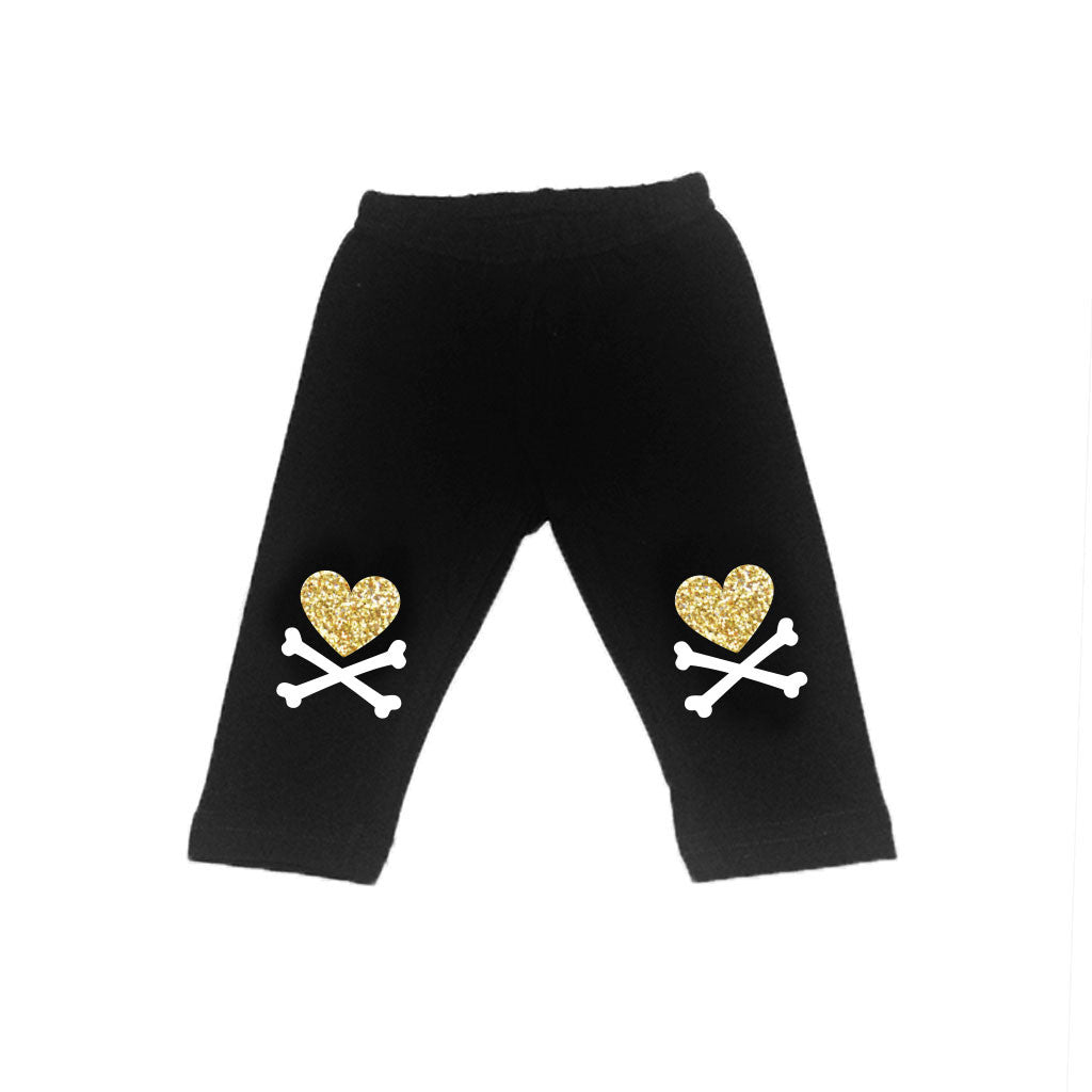 Glitter Heart and Crossbone Leggings-onesie-baby-Little Misfits-tattoo-sleeves-trendy-baby-clothes-for-boys-girls-toddler