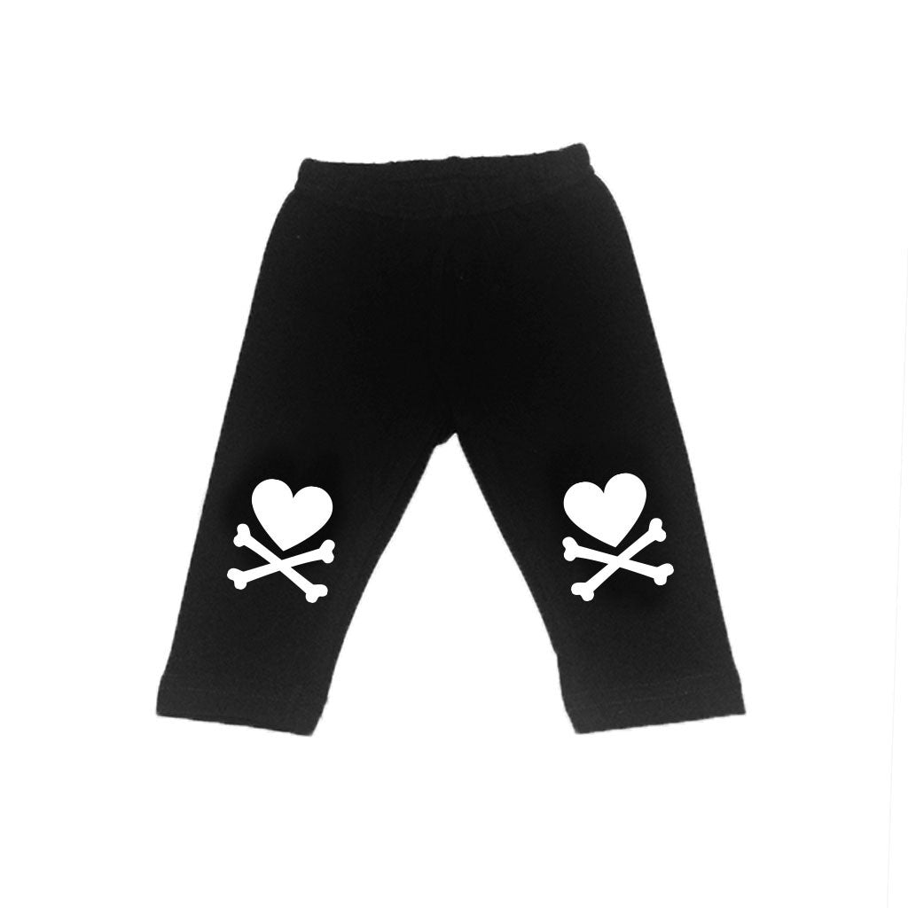 Monochrome Heart and Crossbone Leggings (Unisex)-onesie-baby-Little Misfits-tattoo-sleeves-trendy-baby-clothes-for-boys-girls-toddler