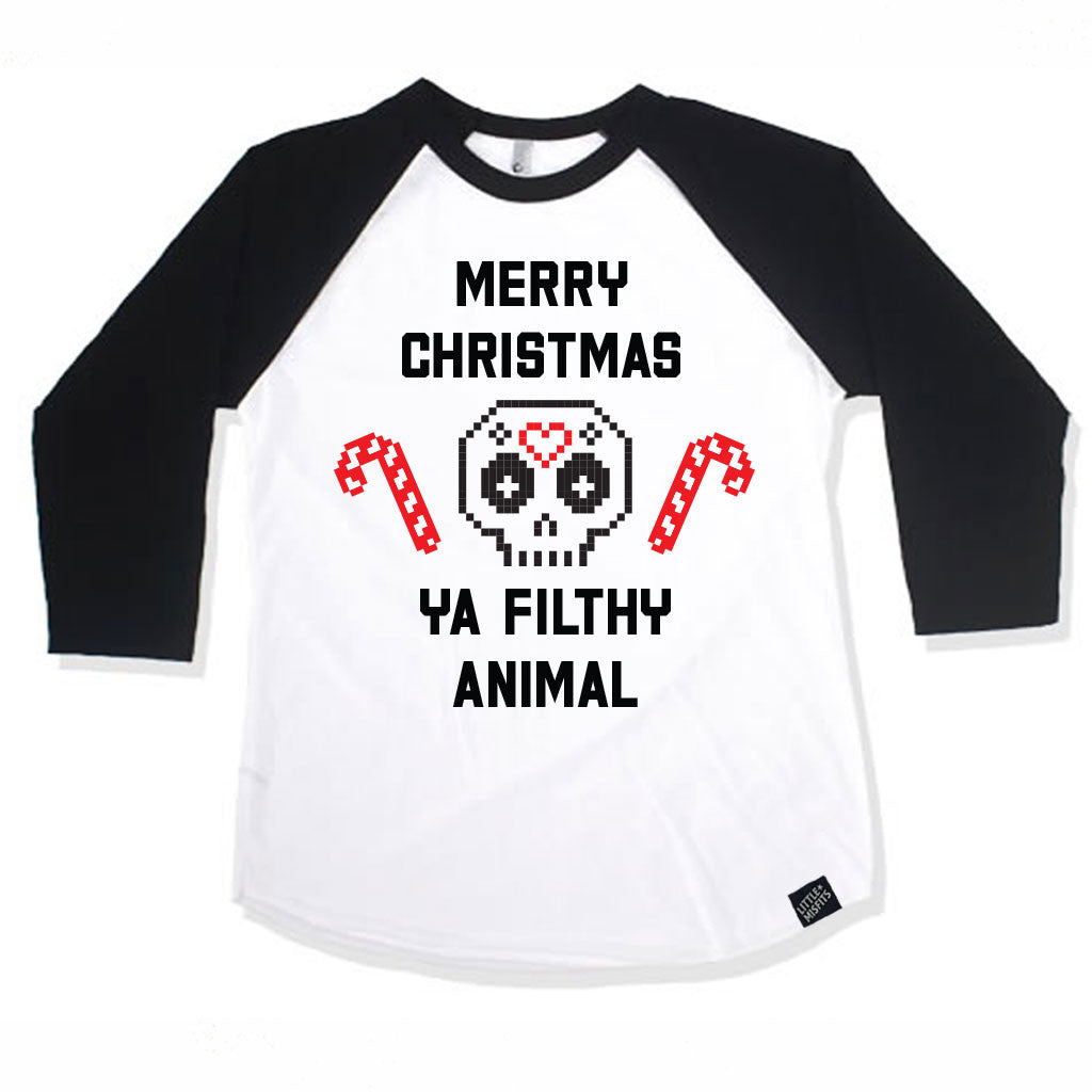 Merry Christmas You Filthy Animal Baby Raglan - Baby Baseball Shirt-onesie-baby-Little Misfits-tattoo-sleeves-trendy-baby-clothes-for-boys-girls-toddler