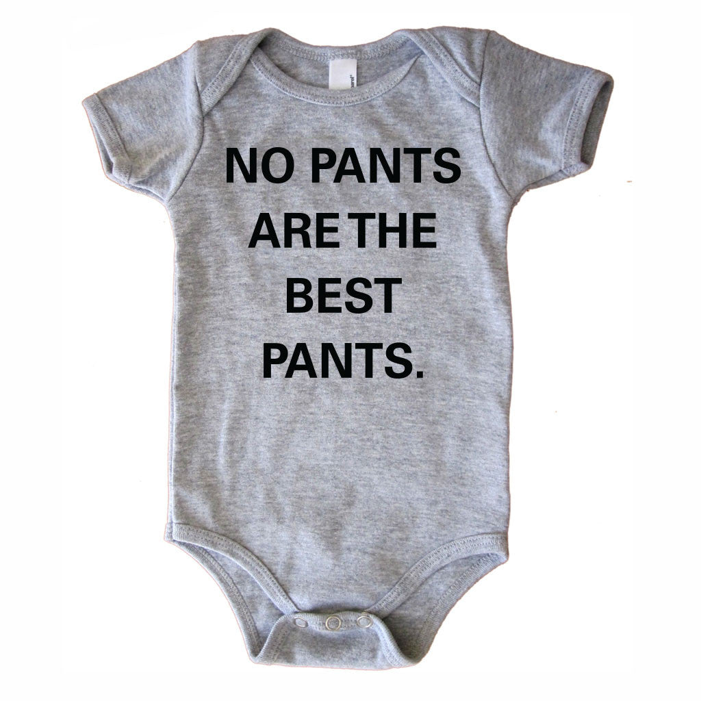 No Pants Are The Best Pants Onesie - Grey-onesie-baby-Little Misfits-tattoo-sleeves-trendy-baby-clothes-for-boys-girls-toddler