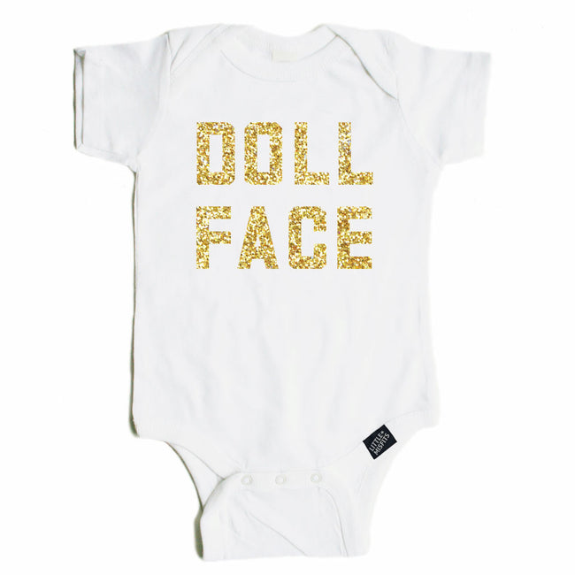 Doll Face - Sparkle / Glitter Baby Onesie - Black or White-onesie-baby-Little Misfits-tattoo-sleeves-trendy-baby-clothes-for-boys-girls-toddler