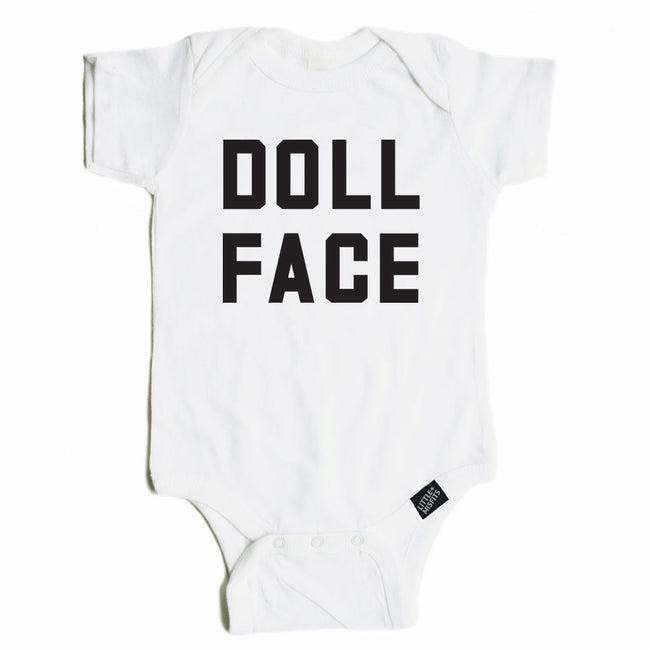 Doll Face - Monochrome Baby Onesie - Black or White-onesie-baby-Little Misfits-tattoo-sleeves-trendy-baby-clothes-for-boys-girls-toddler