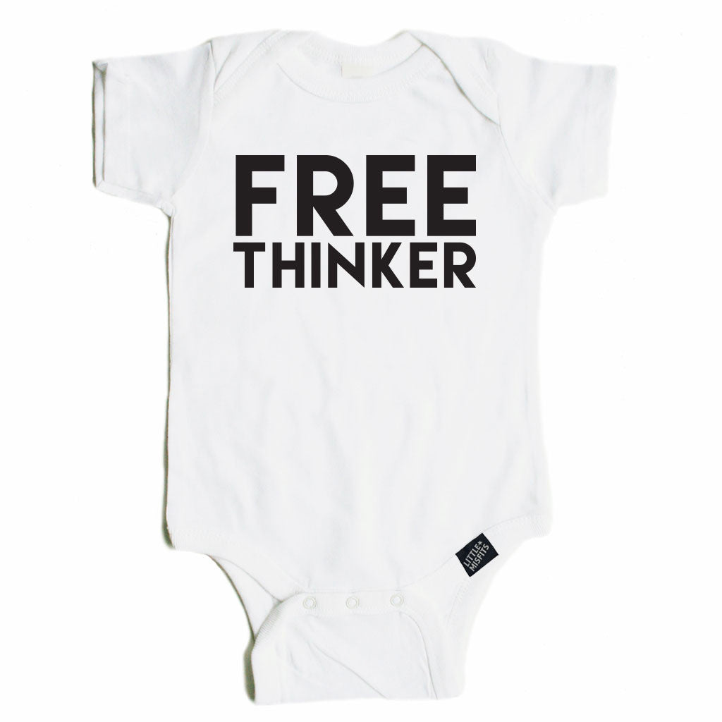 Free Thinker Baby Onesie - Black or White-onesie-baby-Little Misfits-tattoo-sleeves-trendy-baby-clothes-for-boys-girls-toddler